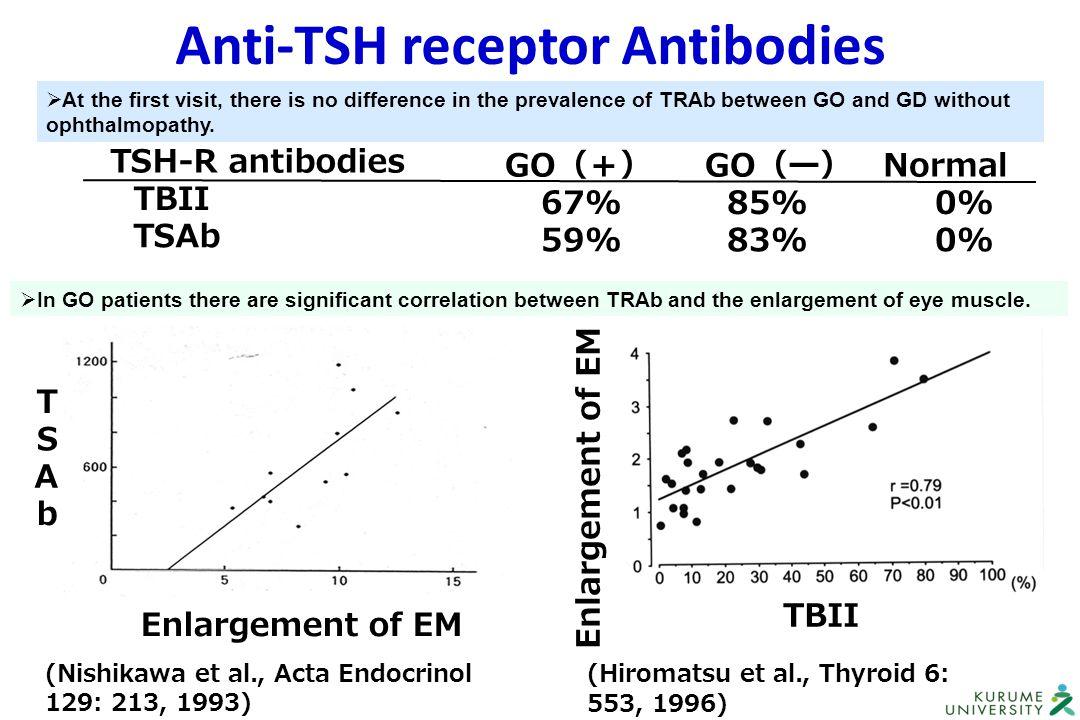 Anti-TSH receptor Antibodies TBII T S A b TSH-R antibodies TBII TSAb GO (+) GO (ー) Normal 67% 85% 0% 59% 83% 0% (Hiromatsu et al., Thyroid 6: 553, 199