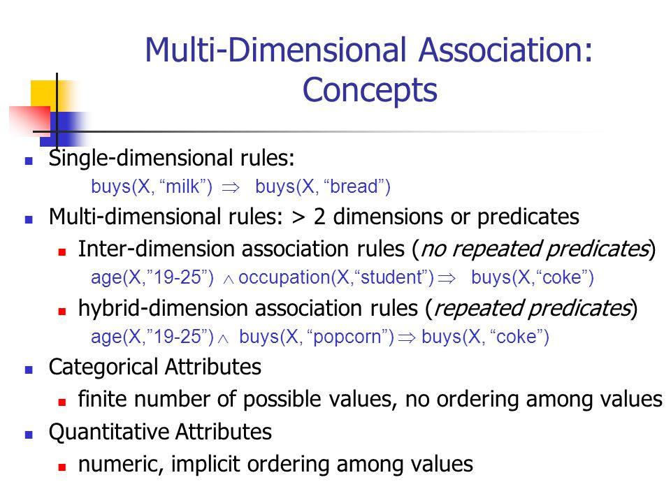 "Multi-Dimensional Association: Concepts Single-dimensional rules: buys(X, ""milk"")  buys(X, ""bread"") Multi-dimensional rules: > 2 dimensions or predic"