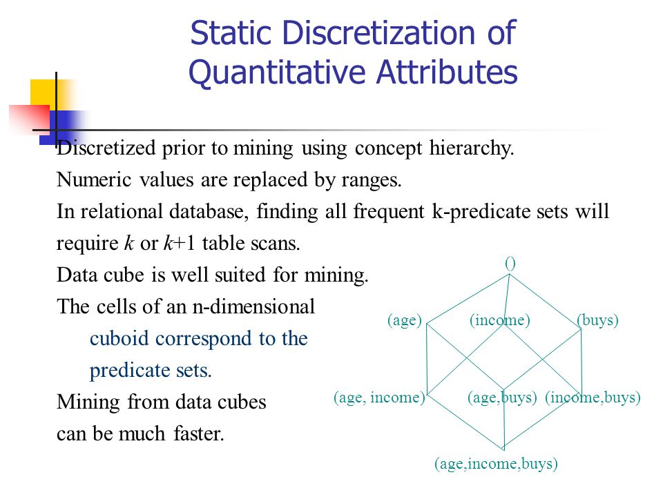 Static Discretization of Quantitative Attributes Discretized prior to mining using concept hierarchy. Numeric values are replaced by ranges. In relati