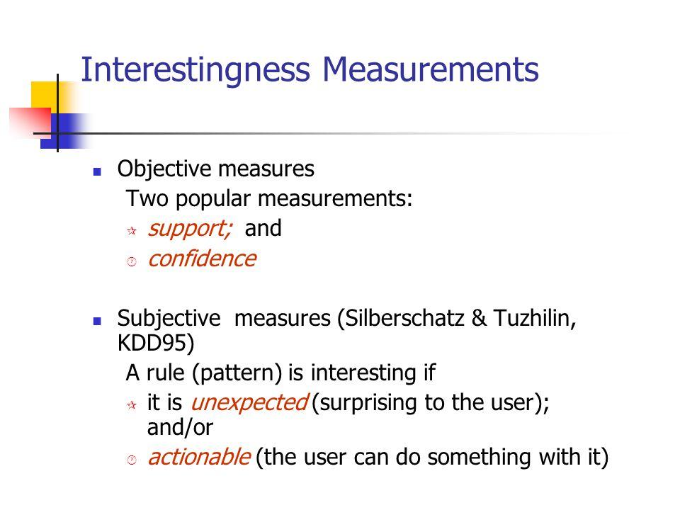 Interestingness Measurements Objective measures Two popular measurements: ¶ support; and · confidence Subjective measures (Silberschatz & Tuzhilin, KD