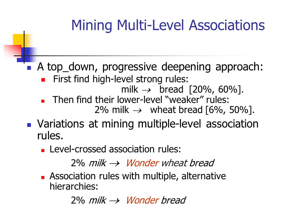 Mining Multi-Level Associations A top_down, progressive deepening approach: First find high-level strong rules: milk  bread [20%, 60%]. Then find the