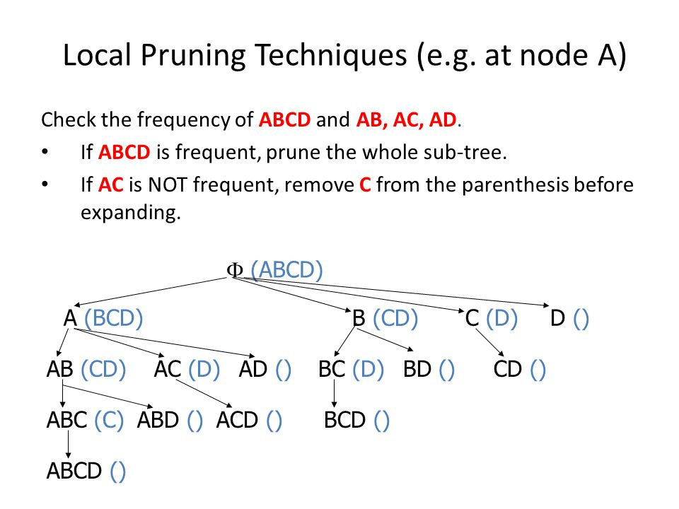 Local Pruning Techniques (e.g. at node A) Check the frequency of ABCD and AB, AC, AD. If ABCD is frequent, prune the whole sub-tree. If AC is NOT freq