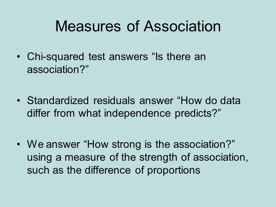 """Measures of Association Chi-squared test answers """"Is there an association?"""" Standardized residuals answer """"How do data differ from what independence p"""