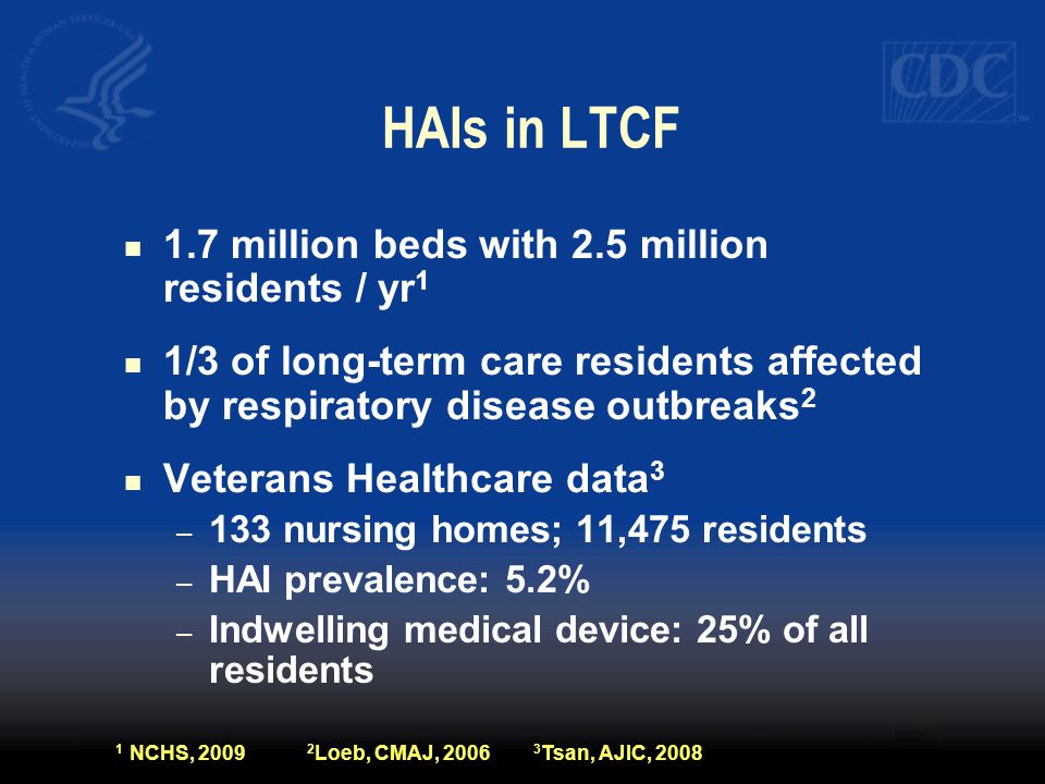 HAIs in LTCF 1.7 million beds with 2.5 million residents / yr 1 1/3 of long-term care residents affected by respiratory disease outbreaks 2 Veterans H