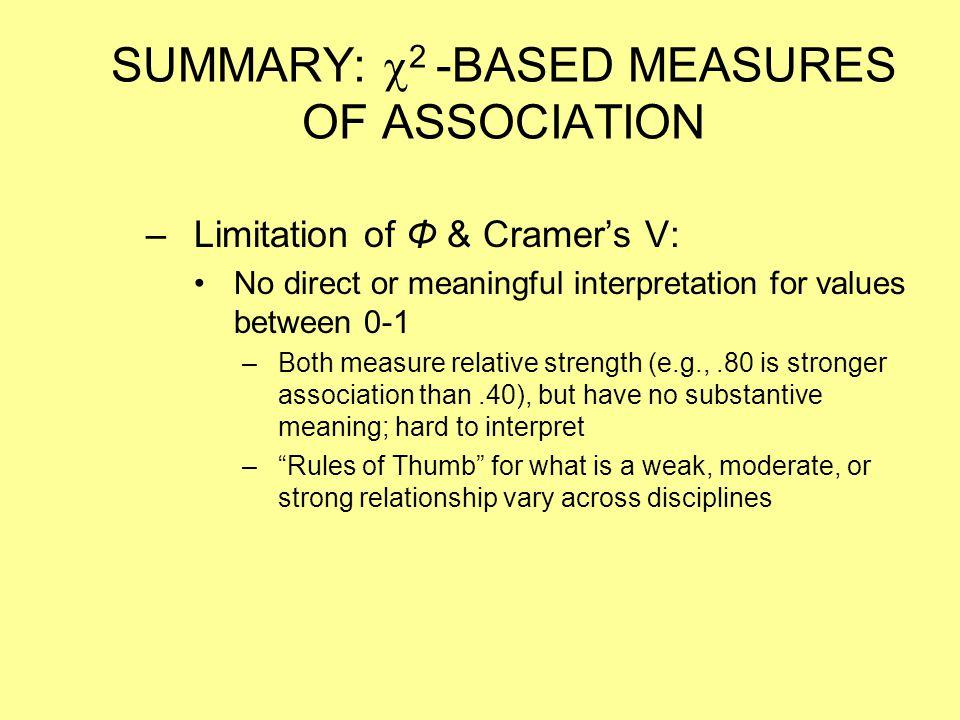 SUMMARY:  2 -BASED MEASURES OF ASSOCIATION –Limitation of Φ & Cramer's V: No direct or meaningful interpretation for values between 0-1 –Both measure
