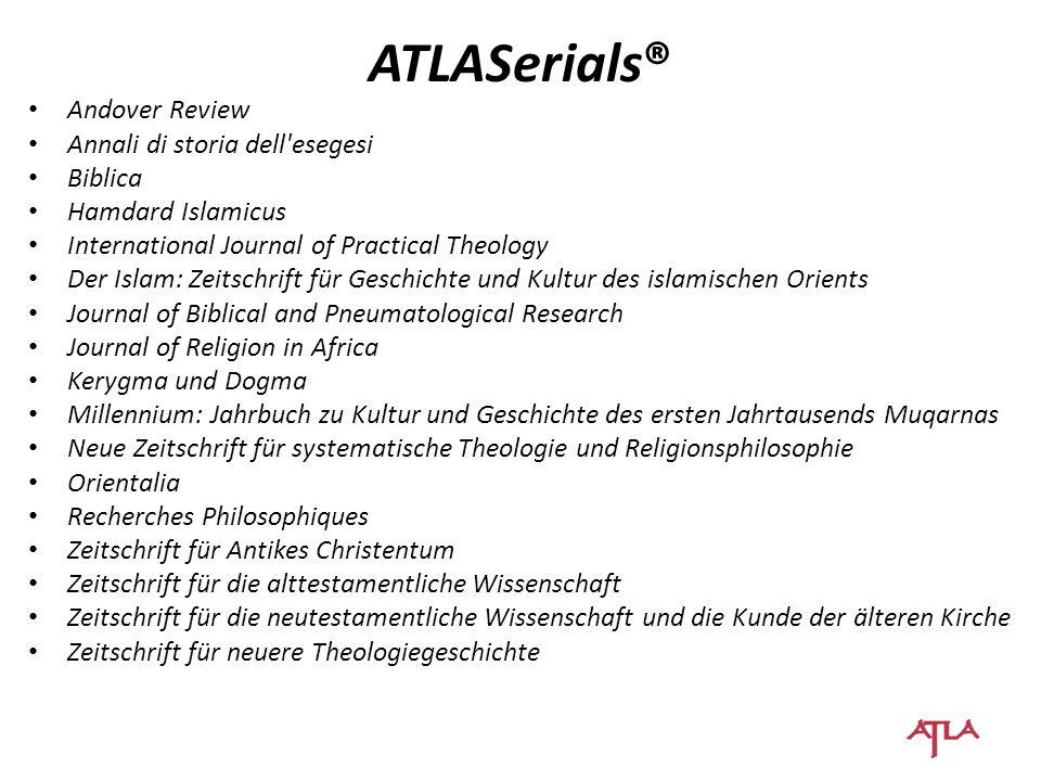 Andover Review Annali di storia dell'esegesi Biblica Hamdard Islamicus International Journal of Practical Theology Der Islam: Zeitschrift für Geschich