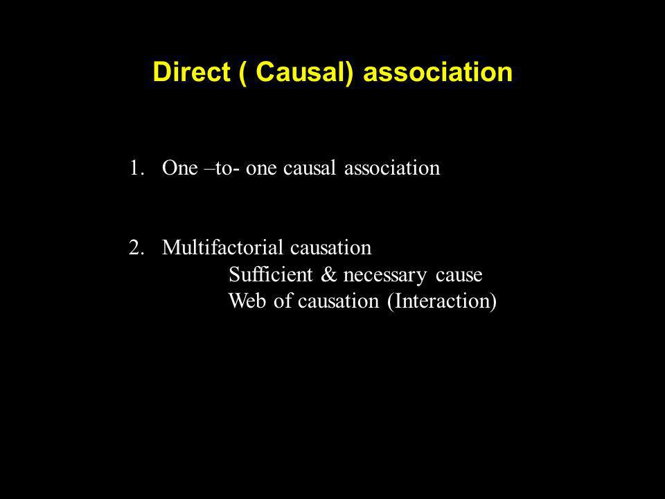 Direct ( Causal) association 1.One –to- one causal association 2. Multifactorial causation Sufficient & necessary cause Web of causation (Interaction)