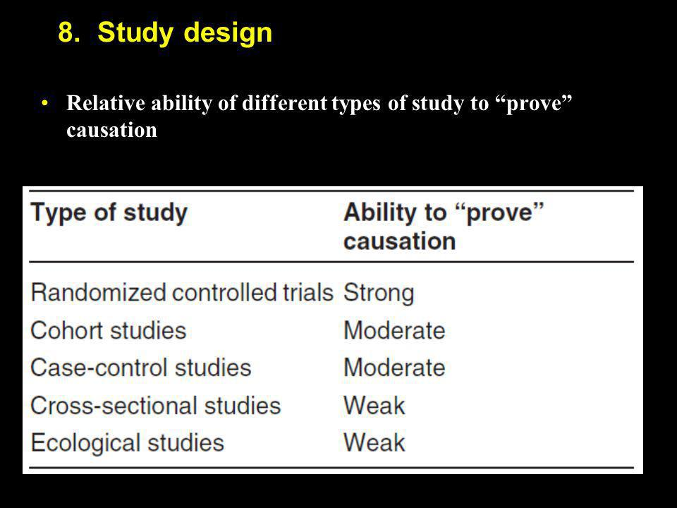 """8. Study design Relative ability of different types of study to """"prove"""" causationRelative ability of different types of study to """"prove"""" causation"""