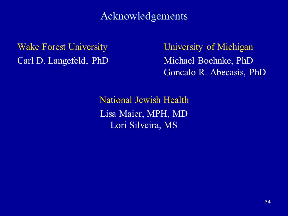 34 Acknowledgements Wake Forest University University of Michigan Carl D.