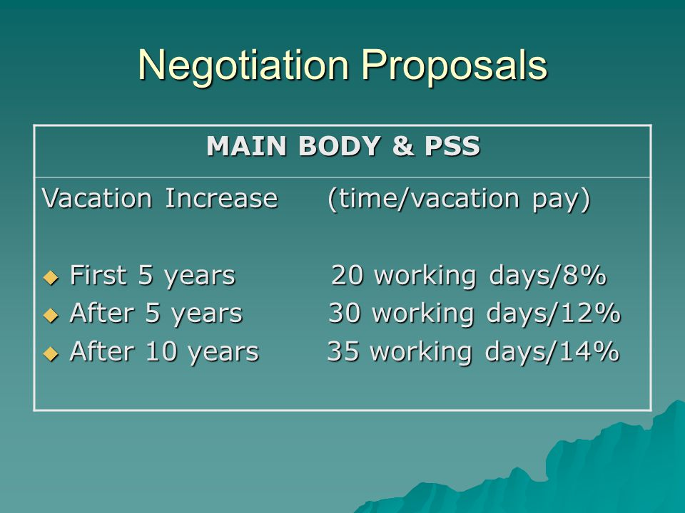 Negotiation Proposals MAIN BODY & PSS Vacation Increase (time/vacation pay)  First 5 years 20 working days/8%  After 5 years 30 working days/12%  After 10 years 35 working days/14%