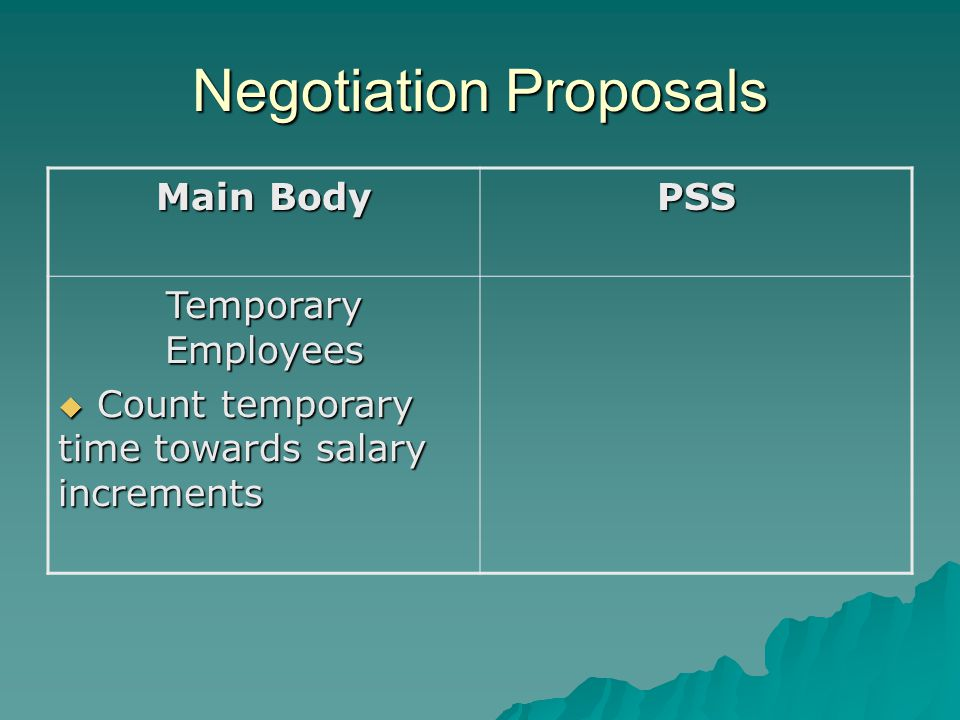 Negotiation Proposals Main Body PSS Temporary Employees  Count temporary time towards salary increments