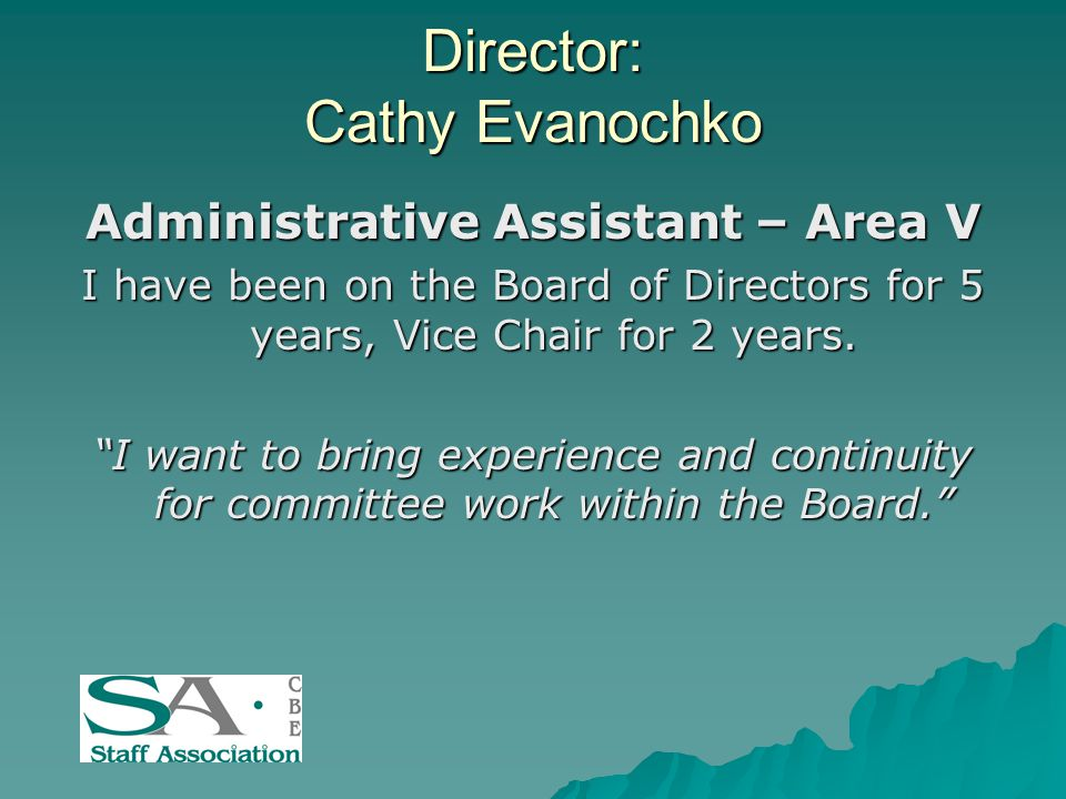 Director: Cathy Evanochko Administrative Assistant – Area V I have been on the Board of Directors for 5 years, Vice Chair for 2 years.