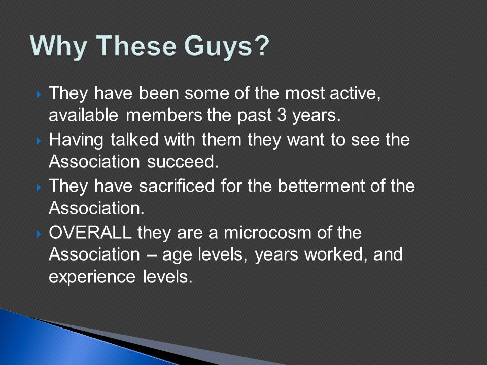  They have been some of the most active, available members the past 3 years.