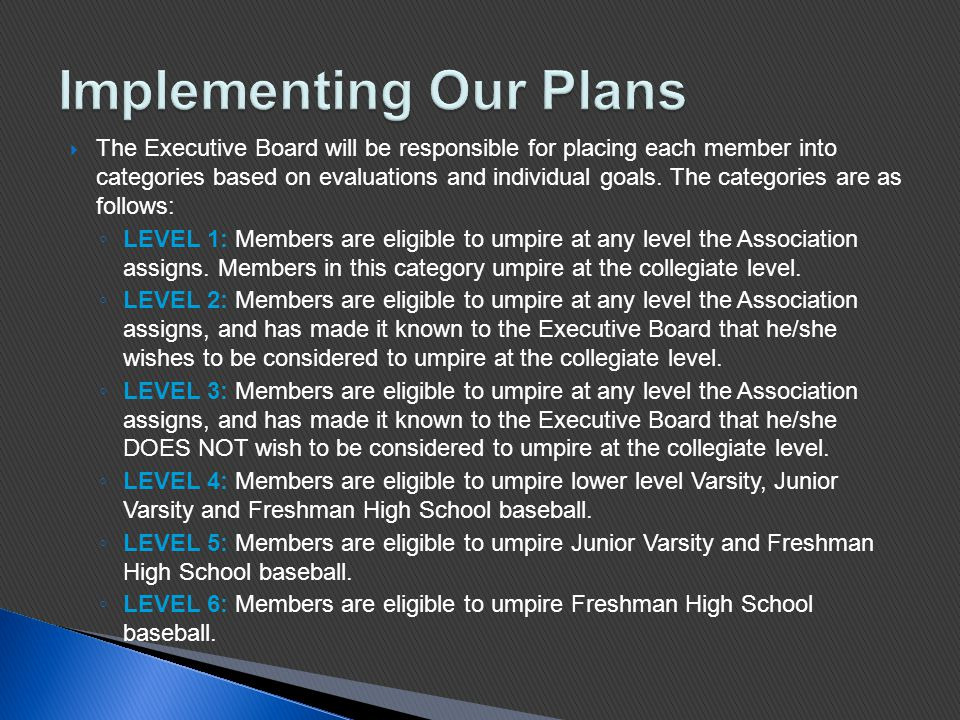  The Executive Board will be responsible for placing each member into categories based on evaluations and individual goals.
