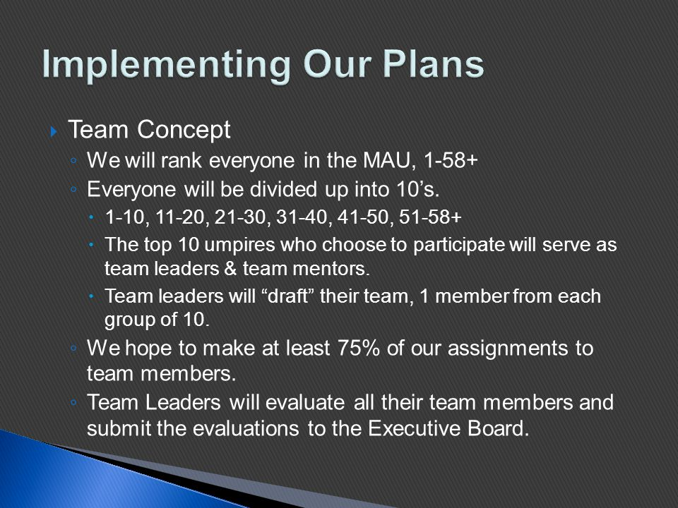  Team Concept ◦ We will rank everyone in the MAU, 1-58+ ◦ Everyone will be divided up into 10's.