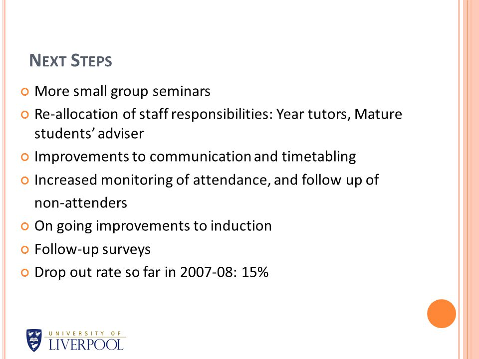 N EXT S TEPS More small group seminars Re-allocation of staff responsibilities: Year tutors, Mature students' adviser Improvements to communication and timetabling Increased monitoring of attendance, and follow up of non-attenders On going improvements to induction Follow-up surveys Drop out rate so far in 2007-08: 15%