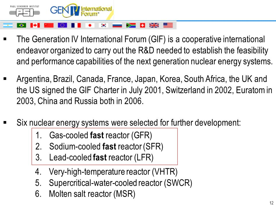 12  The Generation IV International Forum (GIF) is a cooperative international endeavor organized to carry out the R&D needed to establish the feasib