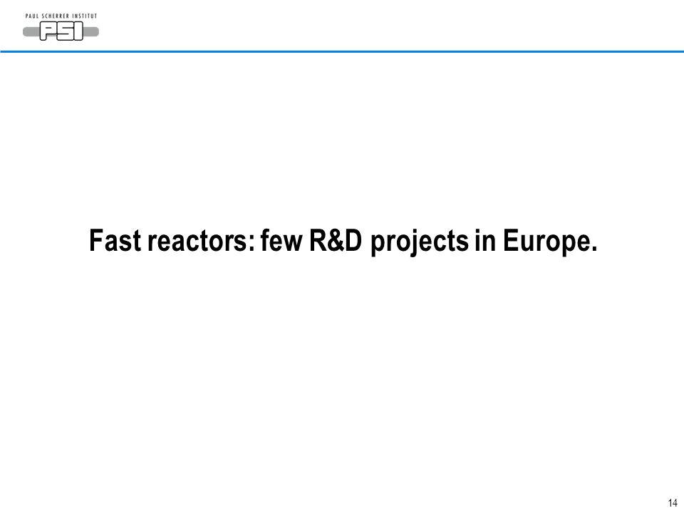 14 Fast reactors: few R&D projects in Europe.