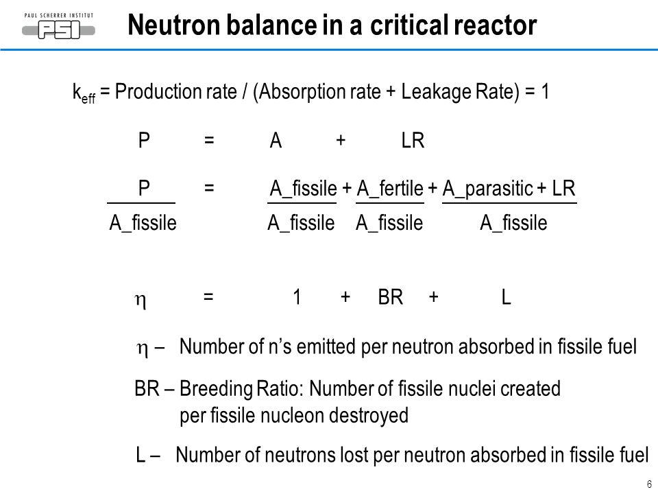 6 Neutron balance in a critical reactor A_fissile P=A_fissile + A_fertile + A_parasitic + LR P=A + LR k eff = Production rate / (Absorption rate + Lea