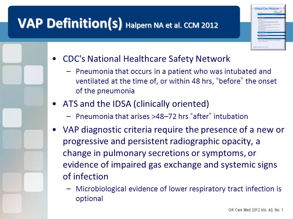 VAP Definition(s) Halpern NA et al. CCM 2012 CDC's National Healthcare Safety Network –Pneumonia that occurs in a patient who was intubated and ventil