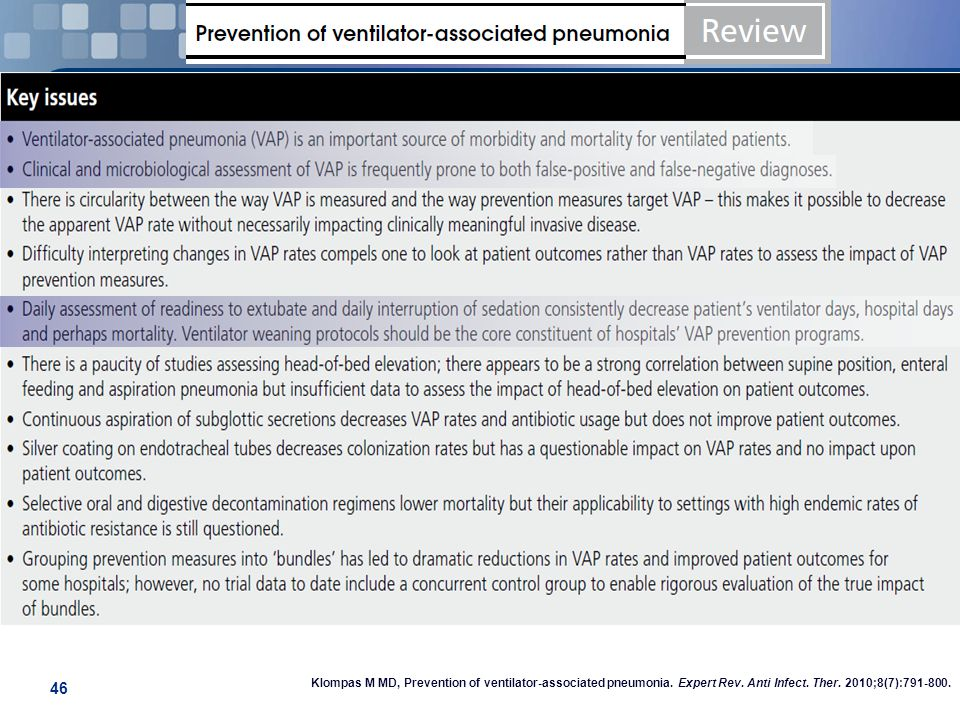 46 Klompas M MD, Prevention of ventilator-associated pneumonia. Expert Rev. Anti Infect. Ther. 2010;8(7):791-800.