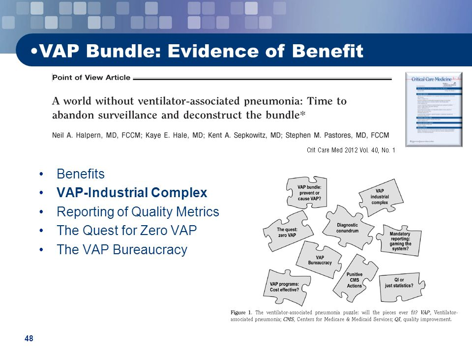 48 VAP Bundle: Evidence of Benefit Benefits VAP-Industrial Complex Reporting of Quality Metrics The Quest for Zero VAP The VAP Bureaucracy