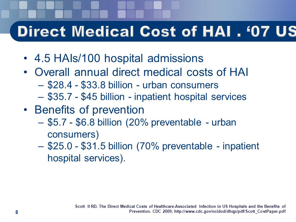 8 4.5 HAIs/100 hospital admissions Overall annual direct medical costs of HAI –$28.4 - $33.8 billion - urban consumers –$35.7 - $45 billion - inpatient hospital services Benefits of prevention –$5.7 - $6.8 billion (20% preventable - urban consumers) –$25.0 - $31.5 billion (70% preventable - inpatient hospital services).