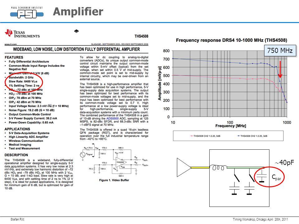 Stefan RittApril 28th, 2011Timing Workshop, Chicago Amplifier C par 750 MHz ∼ 40pF