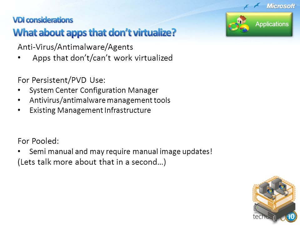 Anti-Virus/Antimalware/Agents Apps that don't/can't work virtualized For Persistent/PVD Use: System Center Configuration Manager Antivirus/antimalware management tools Existing Management Infrastructure For Pooled: Semi manual and may require manual image updates.