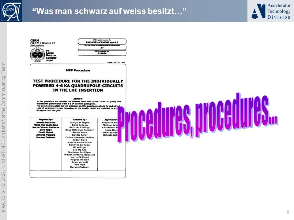 """MAC 22, 6. 12. 2007, KHM-AT-MEL, on behalf of the Commissioning Team 8 """"Was man schwarz auf weiss besitzt…"""""""