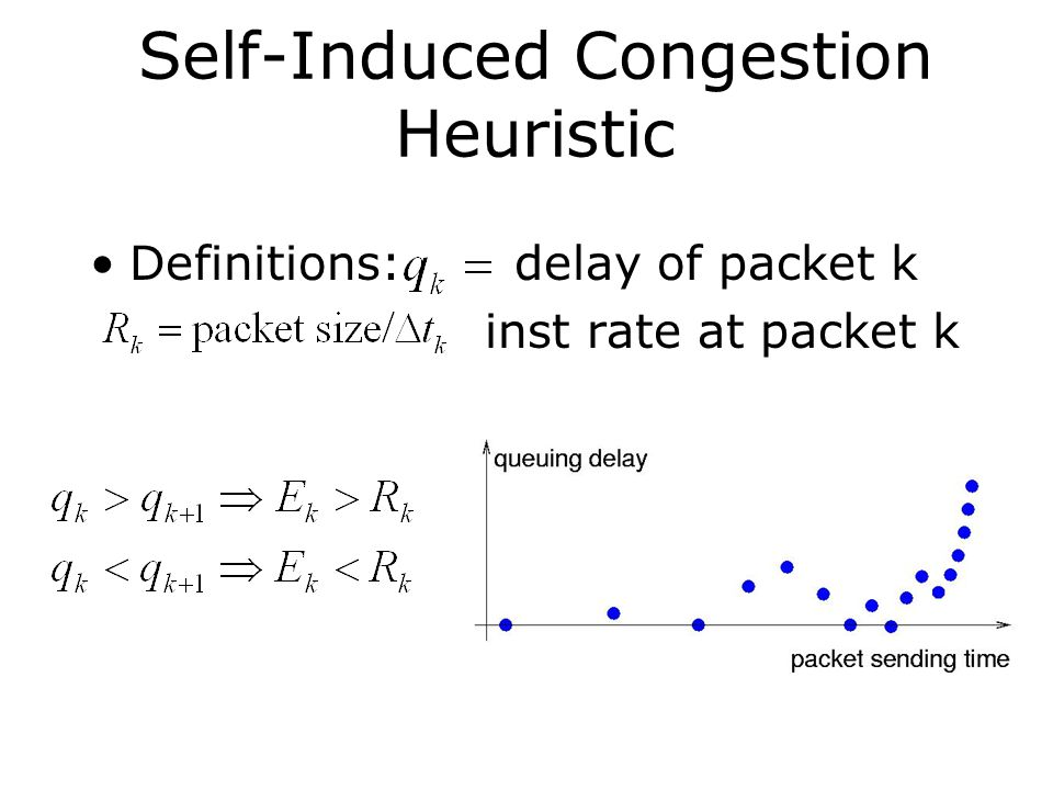 Self-Induced Congestion Heuristic Definitions: delay of packet k inst rate at packet k