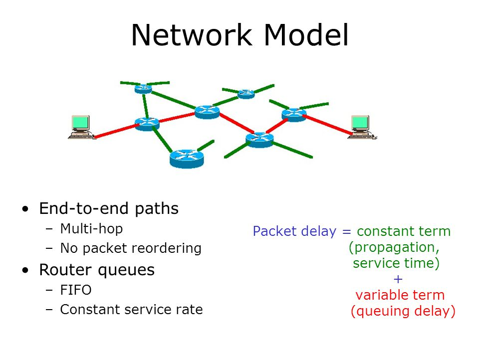 Network Model Packet delay = constant term (propagation, service time) + variable term (queuing delay) End-to-end paths –Multi-hop –No packet reordering Router queues –FIFO –Constant service rate
