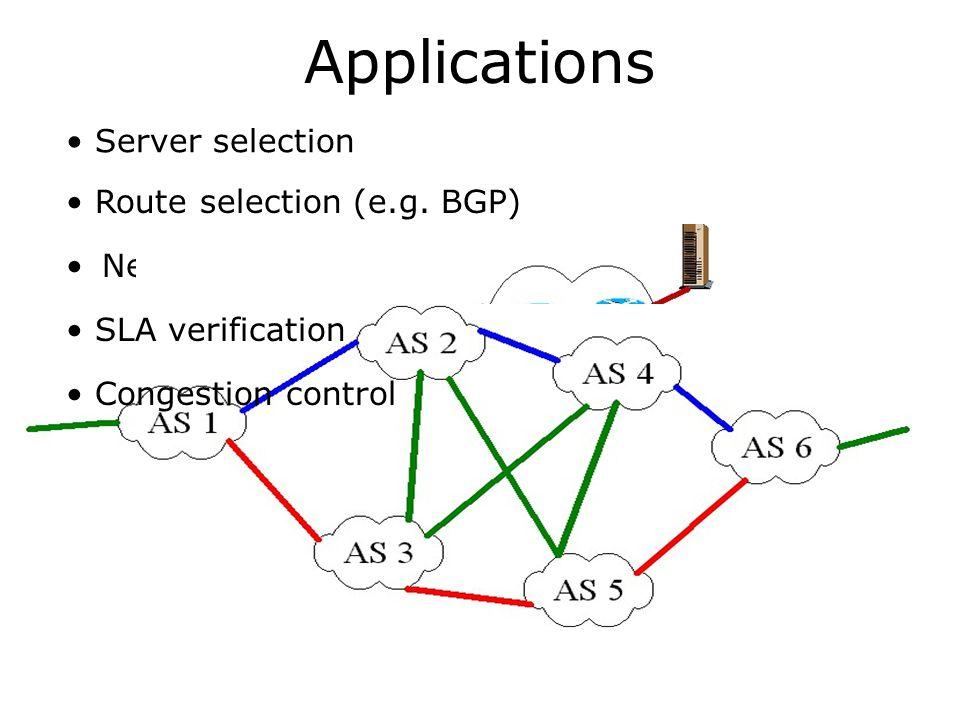 Applications Network monitoring Server selection Route selection (e.g. BGP) SLA verification Congestion control