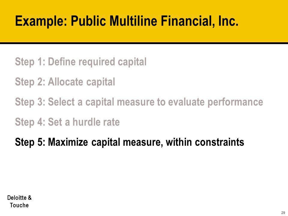29 Deloitte & Touche Example: Public Multiline Financial, Inc. Step 1: Define required capital Step 2: Allocate capital Step 3: Select a capital measu