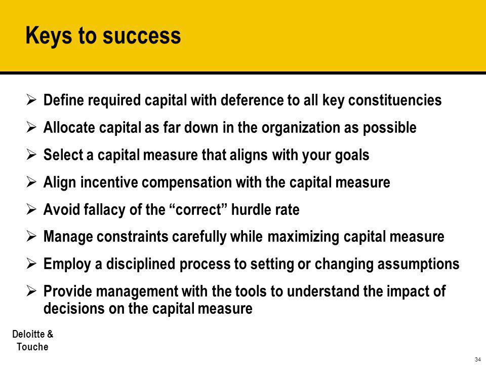 34 Deloitte & Touche Keys to success  Define required capital with deference to all key constituencies  Allocate capital as far down in the organiza