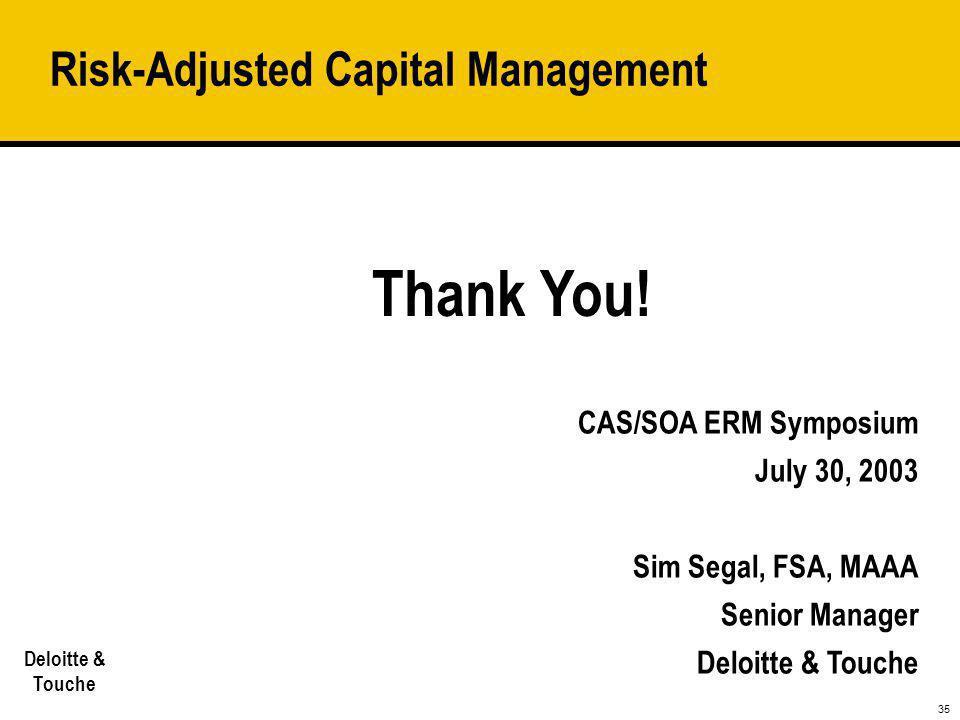35 Deloitte & Touche CAS/SOA ERM Symposium July 30, 2003 Sim Segal, FSA, MAAA Senior Manager Deloitte & Touche Risk-Adjusted Capital Management Thank