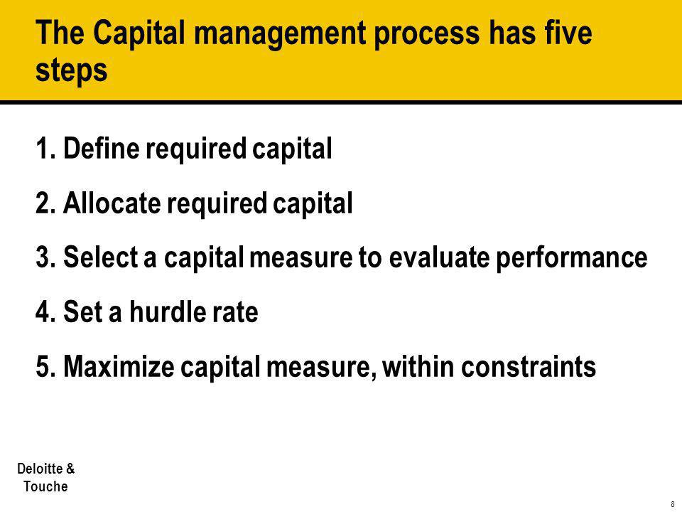 8 Deloitte & Touche The Capital management process has five steps 1. Define required capital 2. Allocate required capital 3. Select a capital measure