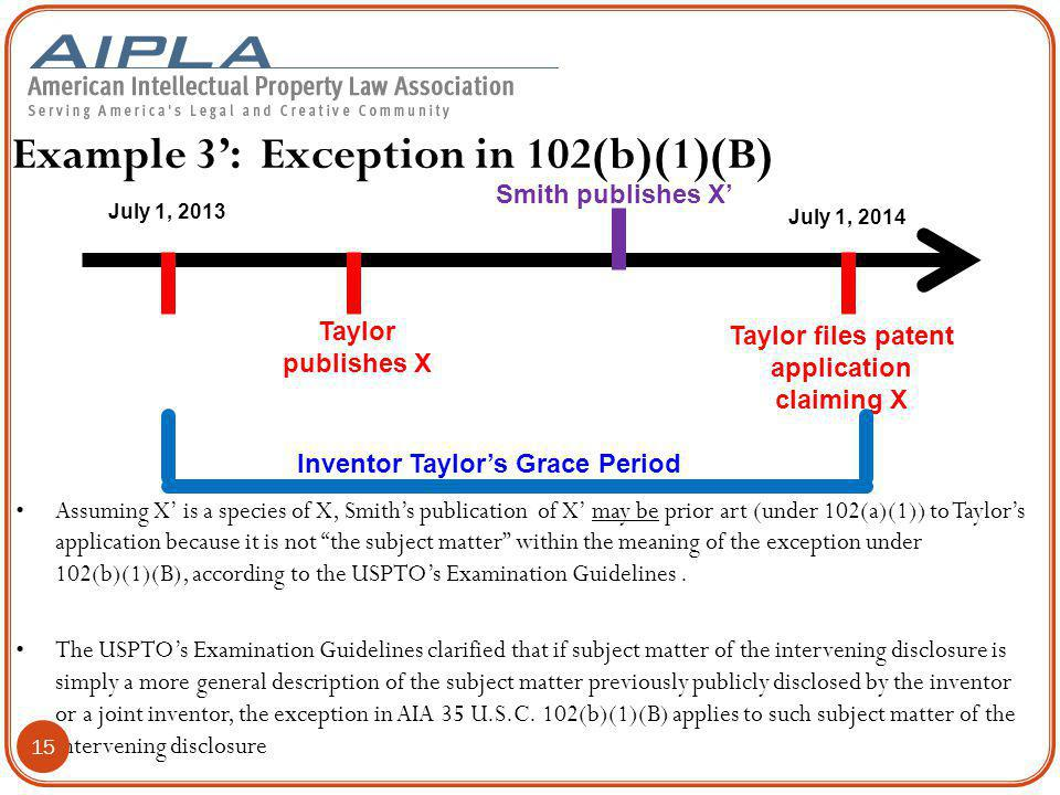 Example 3': Exception in 102(b)(1)(B) Taylor publishes X Taylor files patent application claiming X July 1, 2013 July 1, 2014 Inventor Taylor's Grace Period Assuming X' is a species of X, Smith's publication of X' may be prior art (under 102(a)(1)) to Taylor's application because it is not the subject matter within the meaning of the exception under 102(b)(1)(B), according to the USPTO's Examination Guidelines.
