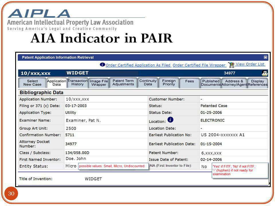 AIA Indicator in PAIR 30