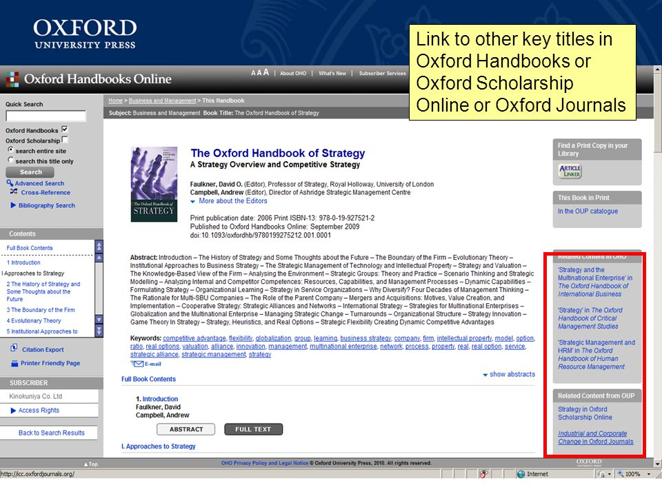Link to other key titles in Oxford Handbooks or Oxford Scholarship Online or Oxford Journals