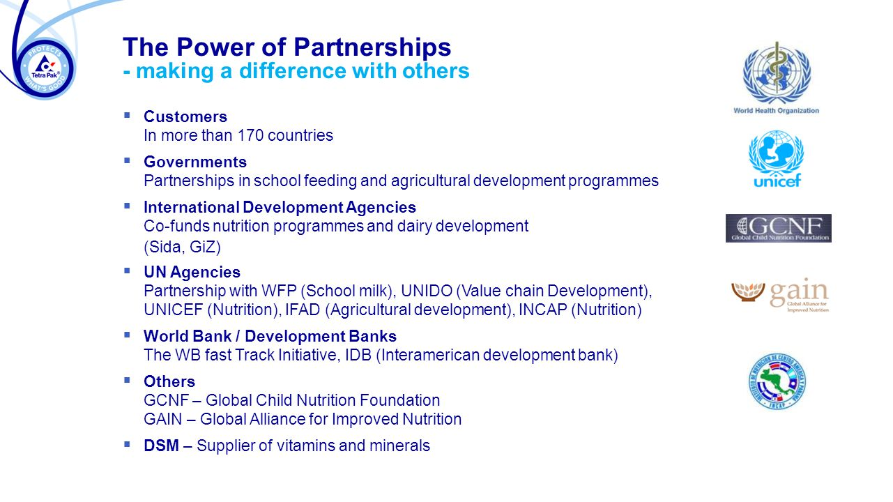 The Power of Partnerships - making a difference with others  Customers In more than 170 countries  Governments Partnerships in school feeding and agricultural development programmes  International Development Agencies Co-funds nutrition programmes and dairy development (Sida, GiZ)  UN Agencies Partnership with WFP (School milk), UNIDO (Value chain Development), UNICEF (Nutrition), IFAD (Agricultural development), INCAP (Nutrition)  World Bank / Development Banks The WB fast Track Initiative, IDB (Interamerican development bank)  Others GCNF – Global Child Nutrition Foundation GAIN – Global Alliance for Improved Nutrition  DSM – Supplier of vitamins and minerals