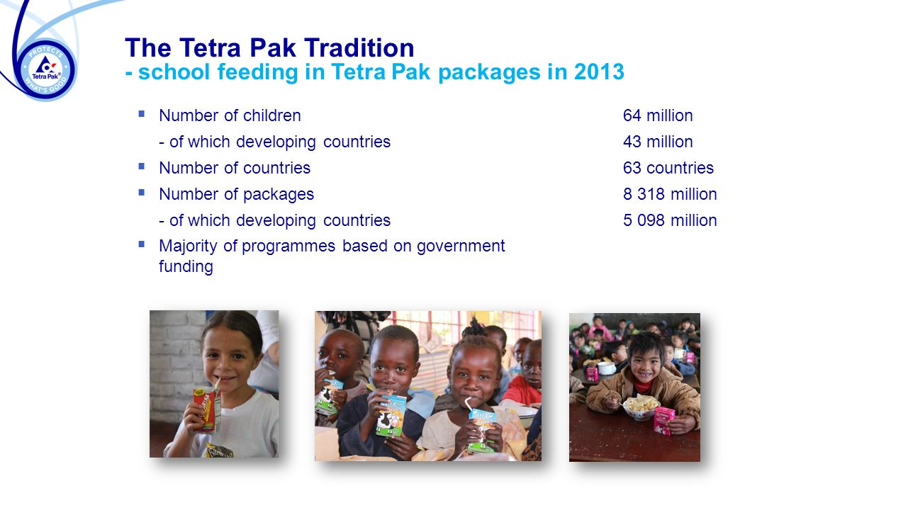  Number of children 64 million - of which developing countries 43 million  Number of countries 63 countries  Number of packages million - of which developing countries5 098 million  Majority of programmes based on government funding The Tetra Pak Tradition - school feeding in Tetra Pak packages in 2013