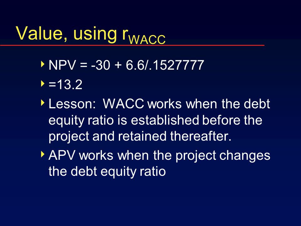 Value, using r WACC  NPV = -30 + 6.6/.1527777  =13.2  Lesson: WACC works when the debt equity ratio is established before the project and retained thereafter.
