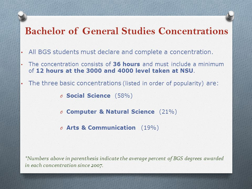 Bachelor of General Studies Concentrations All BGS students must declare and complete a concentration.