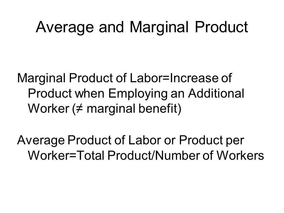 Total, Marginal and Average Products 21276 32197 42877 53356.6 63636 73715.3 LaborTotal ProductMarginal ProductAverage Product 1 (worker)5 (dresses)5 (d.