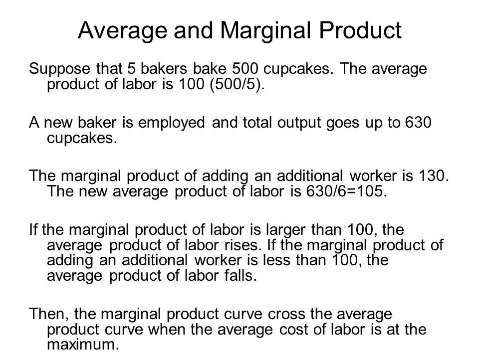Average and Marginal Product Suppose that 5 bakers bake 500 cupcakes. The average product of labor is 100 (500/5). A new baker is employed and total o