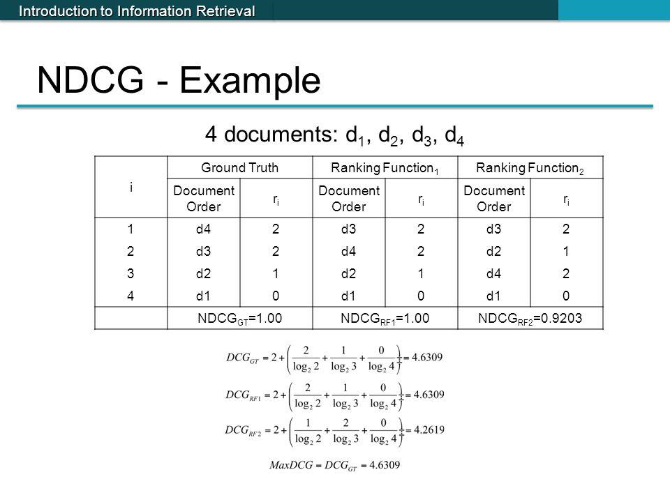 Introduction to Information Retrieval NDCG - Example i Ground TruthRanking Function 1 Ranking Function 2 Document Order riri riri riri 1d42d32 2 2 2d4
