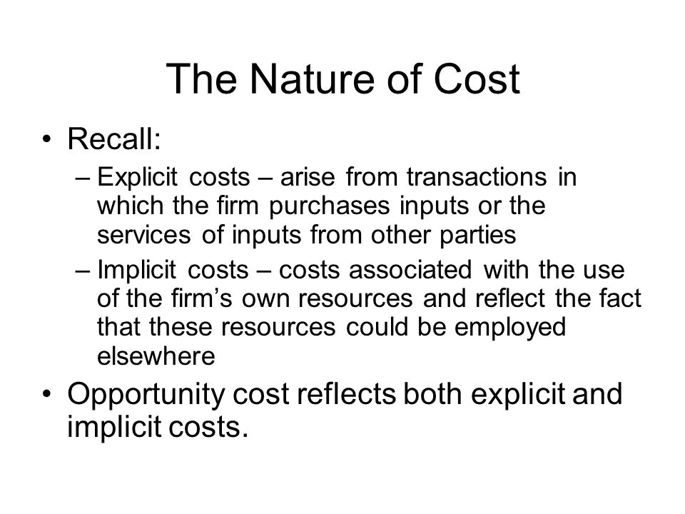 Measures of Short-Run Cost Total fixed cost (TFC) – the cost incurred by the firm that does not depend on how much output it produces Total variable cost (TVC) – the cost incurred by the firm that depends on how much output it produces