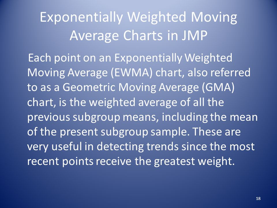 Exponentially Weighted Moving Average Charts in JMP Each point on an Exponentially Weighted Moving Average (EWMA) chart, also referred to as a Geometric Moving Average (GMA) chart, is the weighted average of all the previous subgroup means, including the mean of the present subgroup sample.