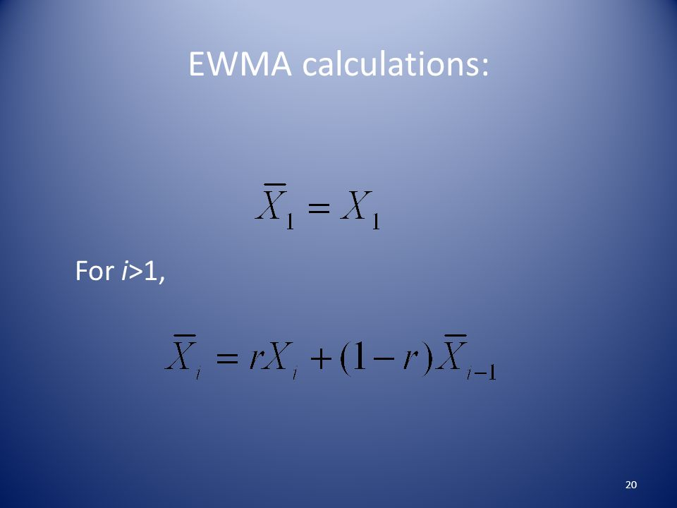 EWMA calculations: For i>1, 20